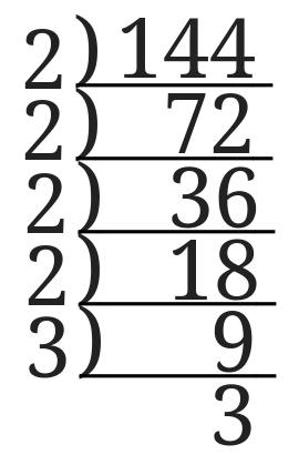144をはしご算で素因数分解